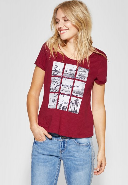 Street One - V-Neck Shirt mit Fotoprint in Wine Red
