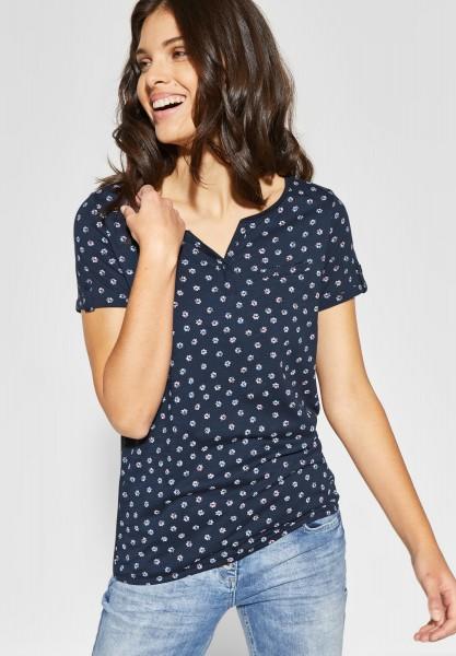 CECIL - Blumenprint Shirt Jara in Deep Blue