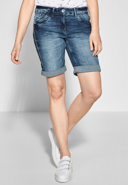 CECIL - Crash-Effekt Shorts Scarlett in Mid Blue Used Wash
