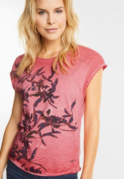 CECIL - Shirt mit tropischen Blüten in Flame Red