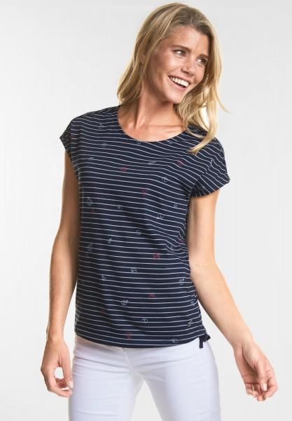CECIL - Streifen T-Shirt mit Print in Deep Blue