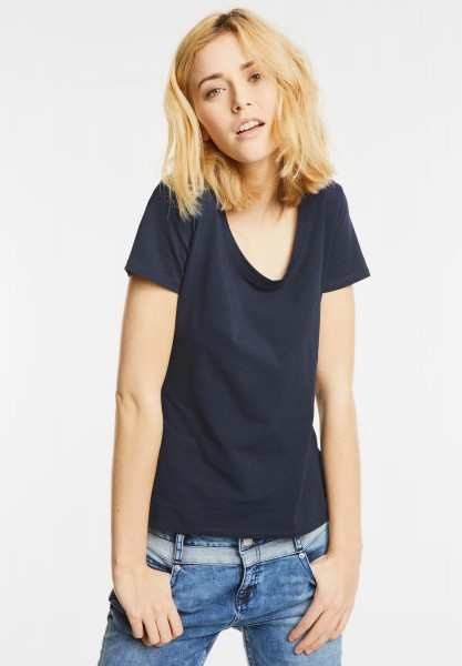 Street One - Basic Rundhalsshirt Plia in Night Blue