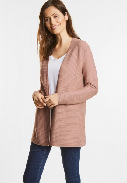 Street One - Cardigan mit Rippstruktur in Studio Rose Knit