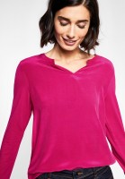 Street One - Shirt mit Materialmix in Azalea Pink