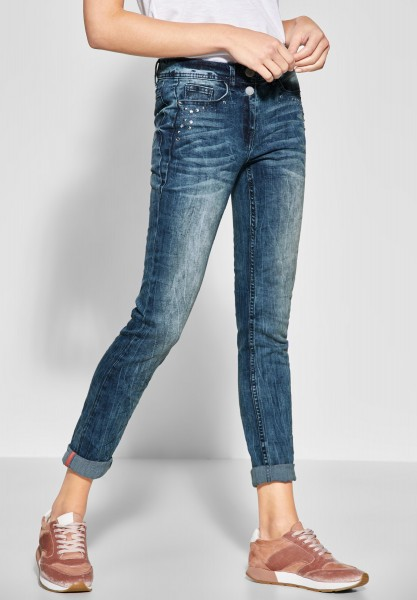 CECIL - Dekorierte Denim Scarlett in Mid Blue Wash