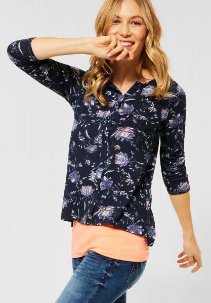 CECIL - Shirt mit Flower-Print in Deep Blue