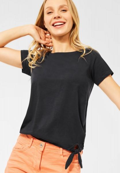 CECIL - T-Shirt mit Knoten Detail in Carbon Grey