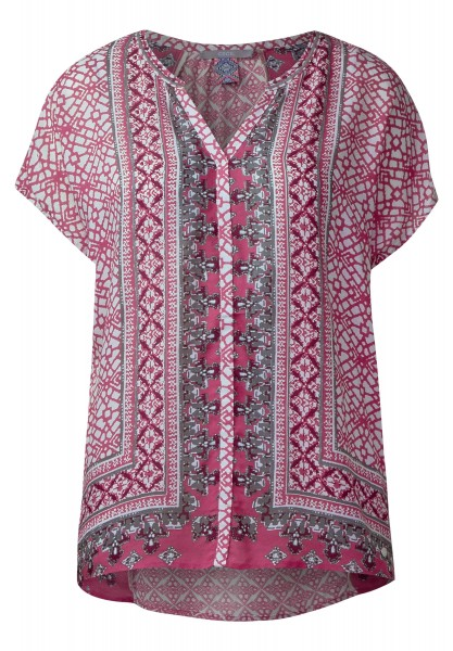 CECIL - Ornamentprint Ponchobluse in Caribbean Pink