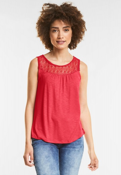 Street One - Romantisches Top mit Spitze in Hibiscus Red