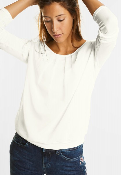 Street One - Blickdichtes Chiffonshirt in Off White