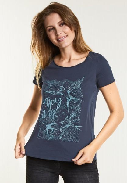 CECIL - Schimmerndes Wording-Shirt in Deep Blue