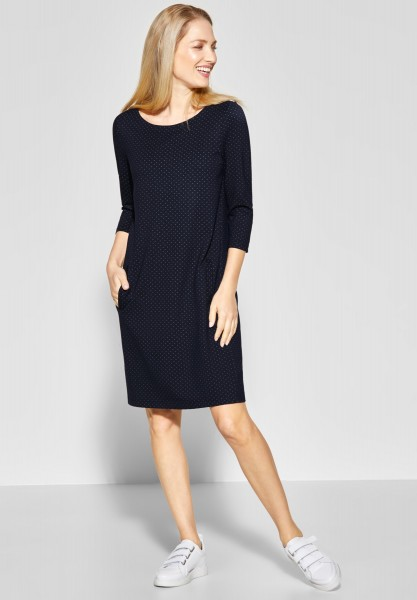 CECIL - Jaquard Jersey Kleid in Deep Blue