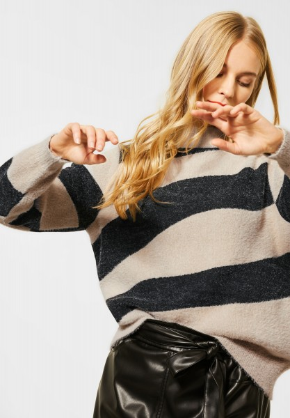Street One - Pullover mit Federgarn in Almond Cream