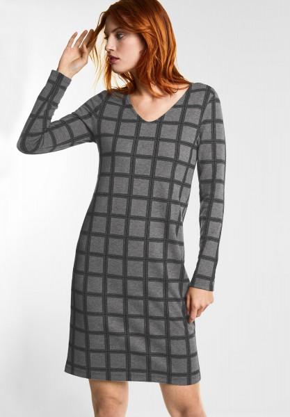 Street One - Karo Kleid mit V-Ausschnitt in Anthracite Melange
