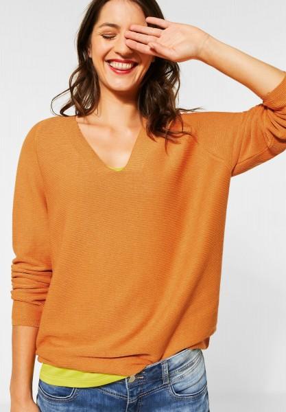 Street One - Pullover mit Rippstruktur in Soft Foxy Caramel Melange