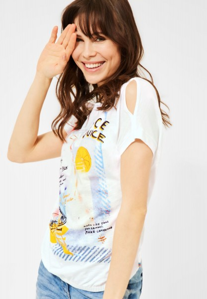 CECIL - T-Shirt mit Print in Pure Off White