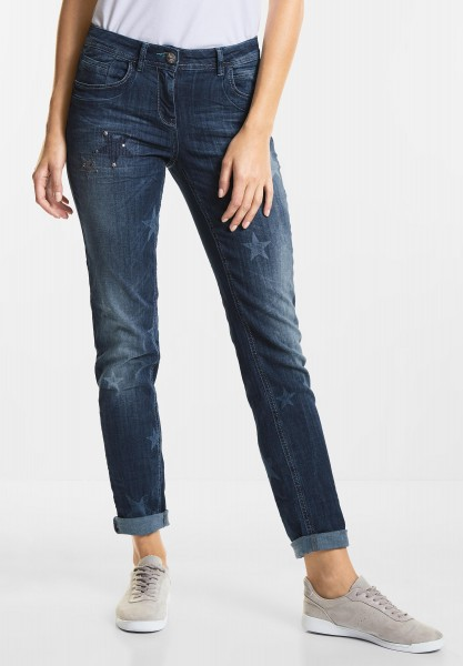 CECIL Verzierte Denim Scarlett in Mid Blue used Wash
