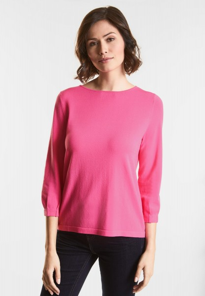 Street One - Weicher Feinstrick-Pulli in Flamingo Pink