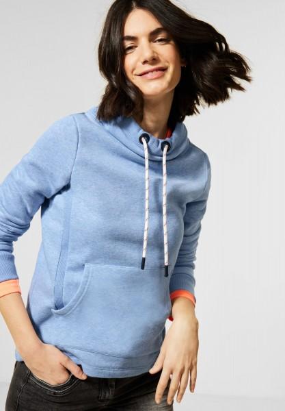 CECIL - Sweat-Pullover in Melange in Light Blue Melange