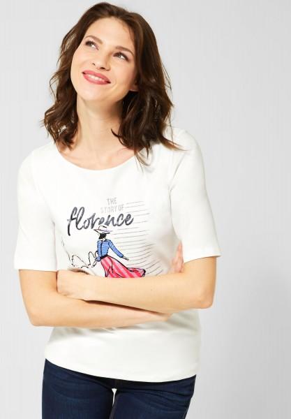 Street One - T-Shirt mit Aufdruck in Off White
