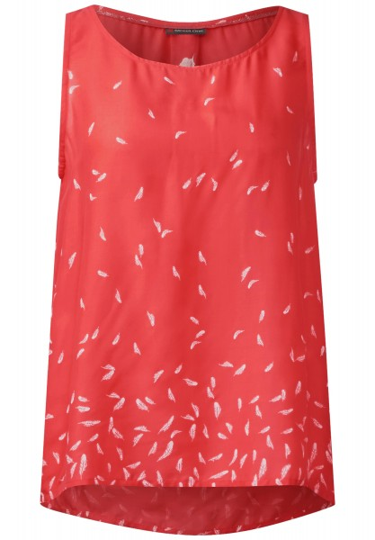 Street One - Federprint Blusentop in Hot Coral