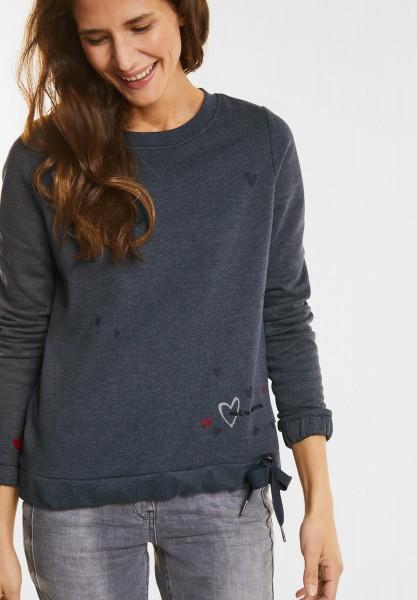 CECIL - Sweatshirt mit Herzprint in Deep Blue Melange