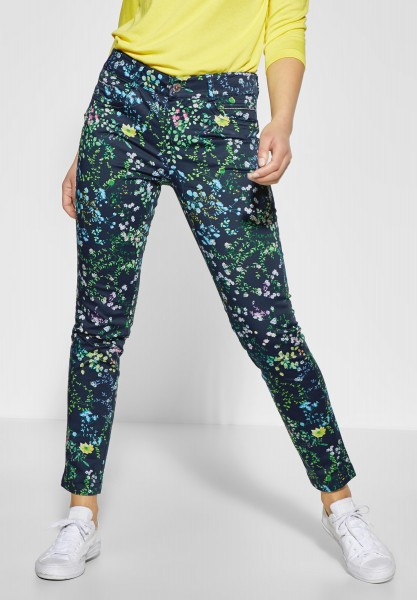 Street One - Blumenprint Hose Yulius in Deep Blue