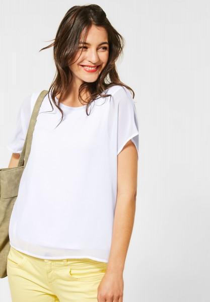 Street One - T-Shirt im Chiffon-Look in White