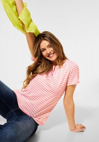 CECIL - T-Shirt mit Streifen Muster in Soft Neon Pink