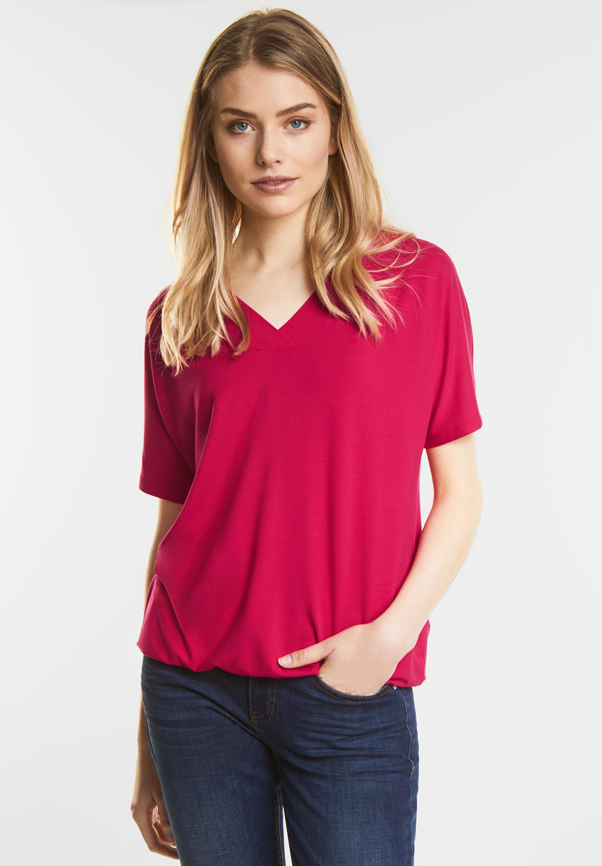 Street One Schlichtes V Neck Shirt in Carribean Pink