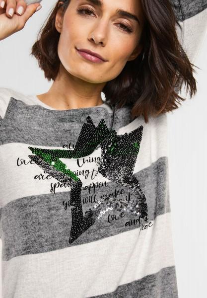 Street One - Print Shirt mit Pailletten in Off White