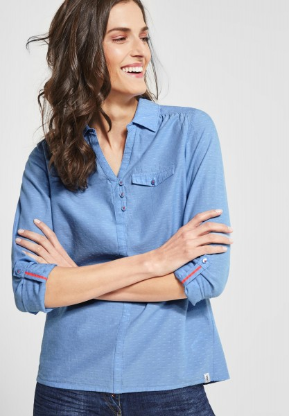 CECIL - Chambray Punkte Bluse in Powder Blue