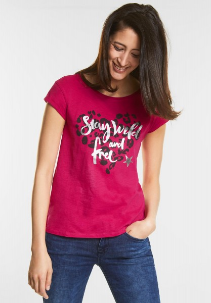 Street One - Lässiges Print Shirt in Carribean Pink