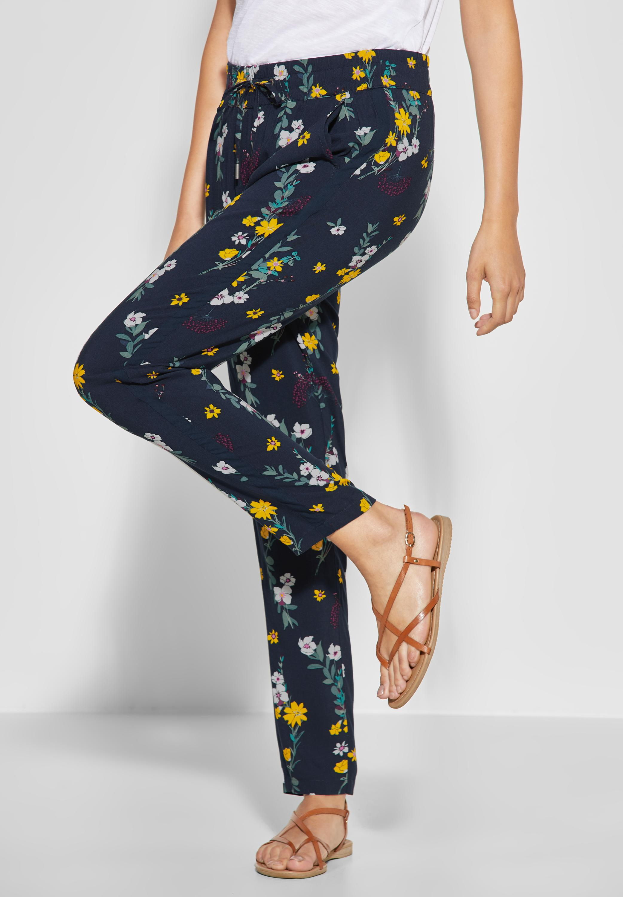 CECIL Flower Print Hose Chelsea in Deep Blue