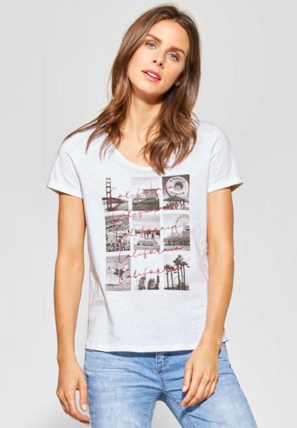 Street One - V-Neck Shirt mit Fotoprint in White