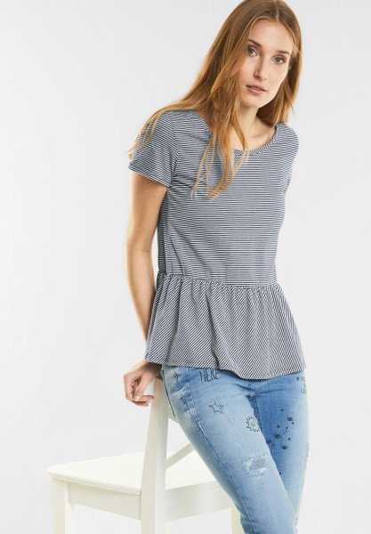 CECIL - Streifen Shirt mit Volant in Deep Blue Melange