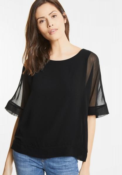 Street One - Doppellagiges Shirt Stea in Black