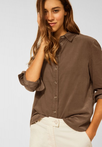 CECIL - Cord Bluse in Unifarbe in Toffee Brown