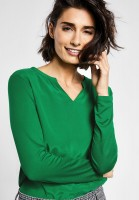 Street One - Shirt mit Materialmix in Jolly Green