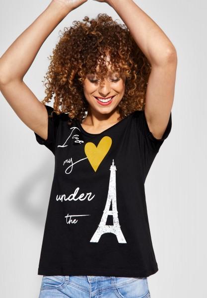 Street One - T-Shirt mit Wording Print in Black