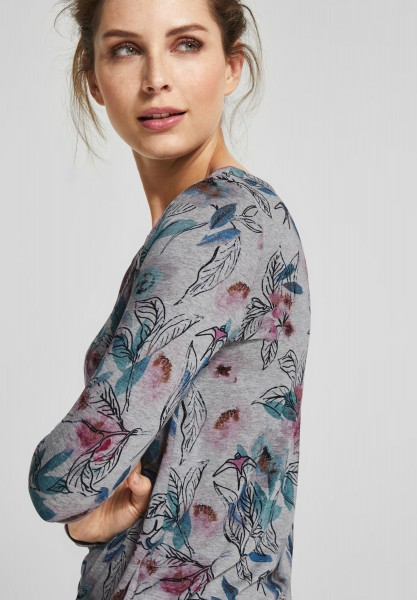 CECIL - Melange Blumen Shirt in Mineral Grey Melange
