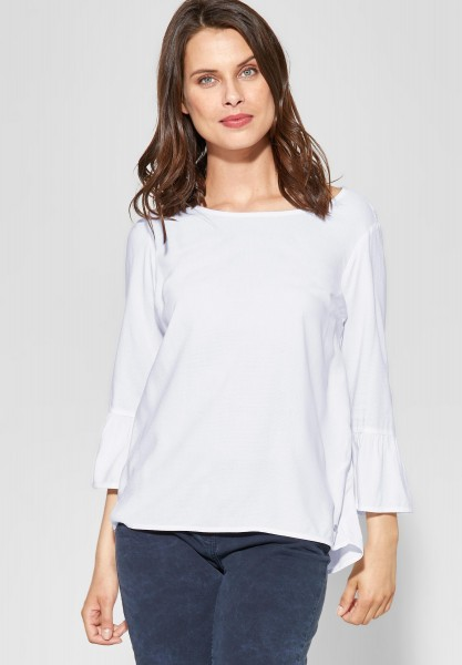 CECIL - Einfarbige Bluse mit Volant in White