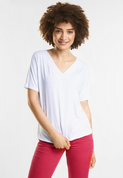 Street One - Schlichtes V-Neck Shirt in White