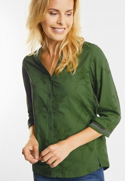 CECIL - Bestickte Tunika Bluse in Matcha Tea Green