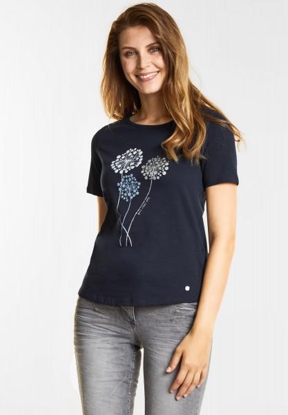 CECIL - Weiches Flower-Print T-Shirt in Deep Blue