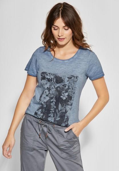 CECIL - Wording-Print Shirt in Deep Blue