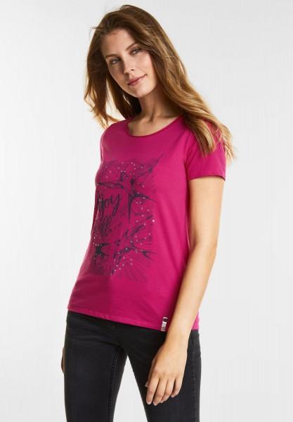 CECIL - Schimmerndes Wording-Shirt in Bright Magenta