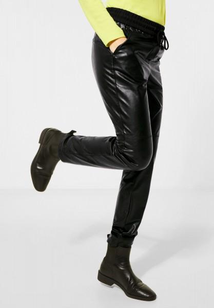 CECIL - Loose Fit Lederimitat-Hose in Black