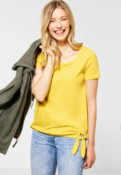 CECIL - T-Shirt mit Knotendetail in Radiant Yellow