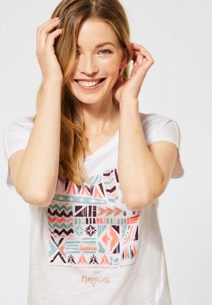 CECIL - T-Shirt mit Ethno-Print in White